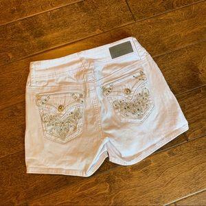 Hydraulic Bling Flap Pocket Jean Shorts, 3/4